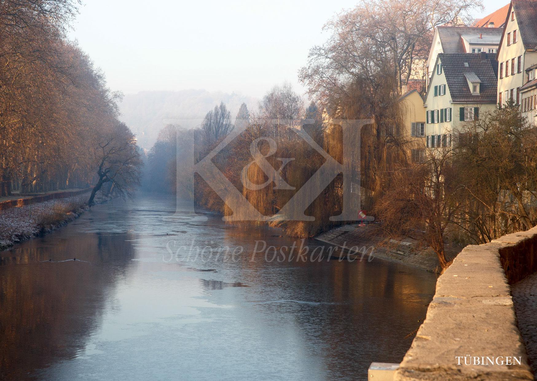 Schöne Postkarten Nr. 210 · Tübingen, Neckarmauer im Winter · © 2017