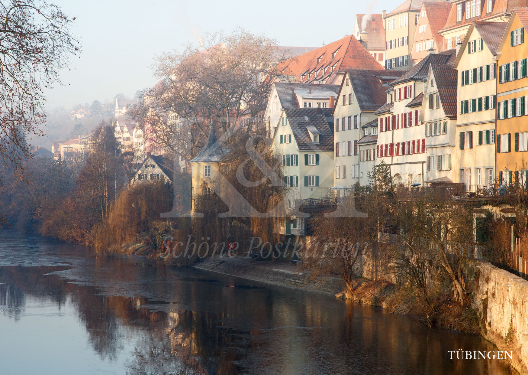 Schöne Postkarten Nr. 208 · Tuebingen Neckarfront mit Hoelderlinturm im Winter
