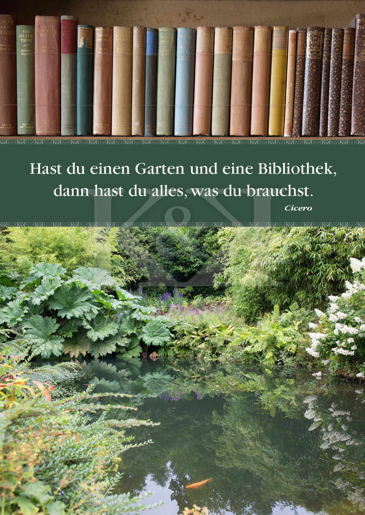 Schöne Postkarte Nr. 9 · Cicero: Garten und Bücher · © 2017