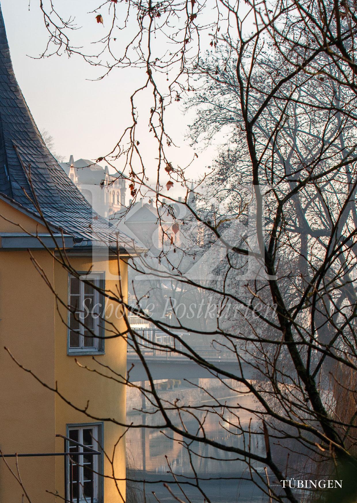 Schöne Postkarten Nr. 213 · Hölderlinturm an einem sonnigen Wintermorgen © 2018