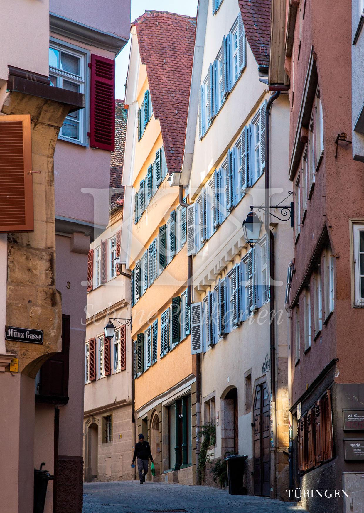 Schöne Postkarten Nr. 214 · Fachwerkhäuser in der Münzgasse in Tübingen © 2018