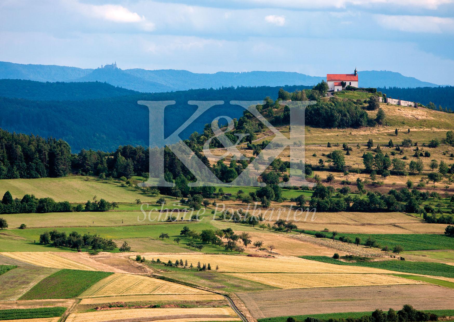 Schöne Postkarten Nr. 219 · Wurmlinger Kapelle und Burg Hohenzollern vor der Schwäbischen Alb © 2018