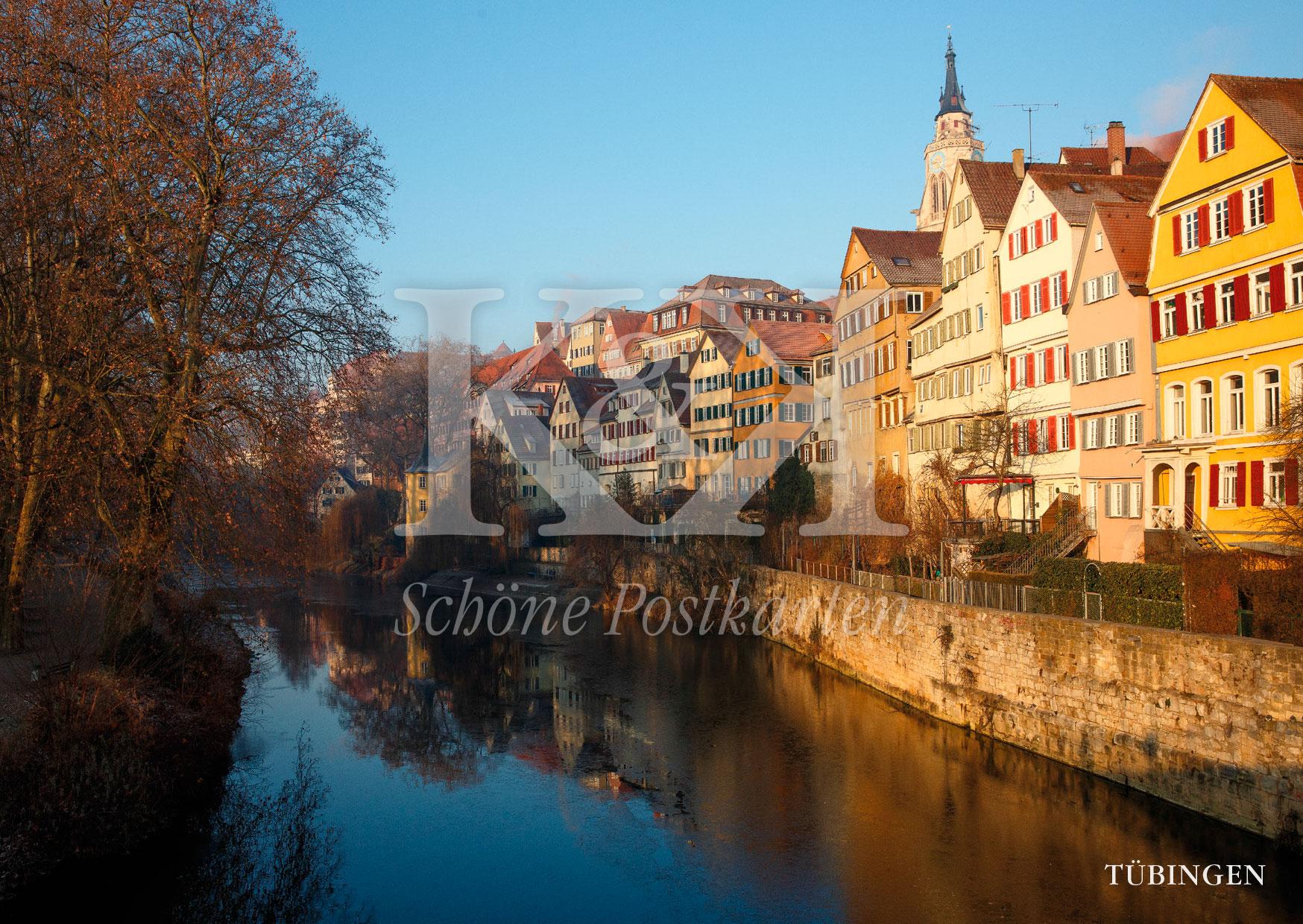 Schöne Postkarten Nr. 239 · Hölderlinturm mit Neckarfront in der Morgensonne © 2018