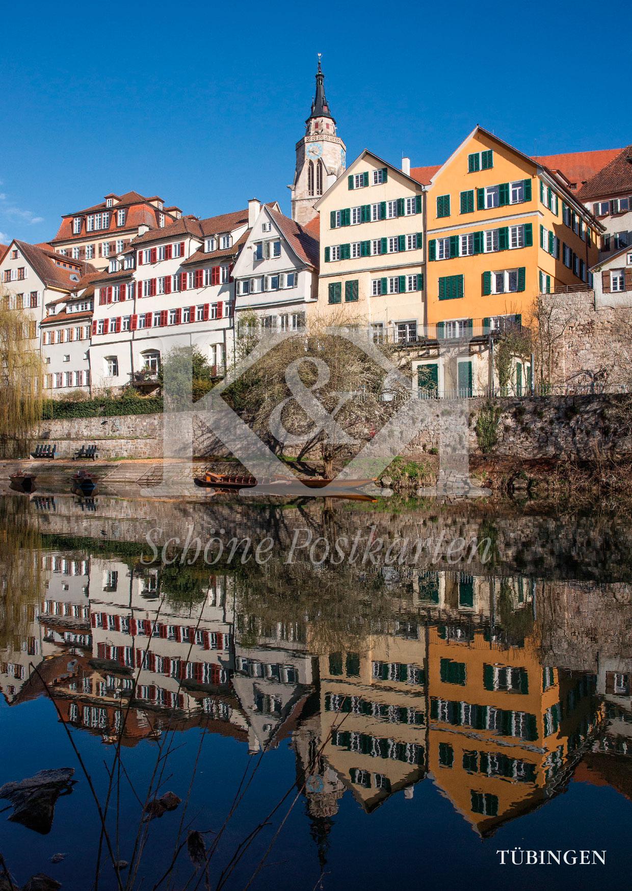 <strong>Schöne Postkarte Nr. 241</strong> · Stiftskirche Tübingen mit Neckarfront © 2018