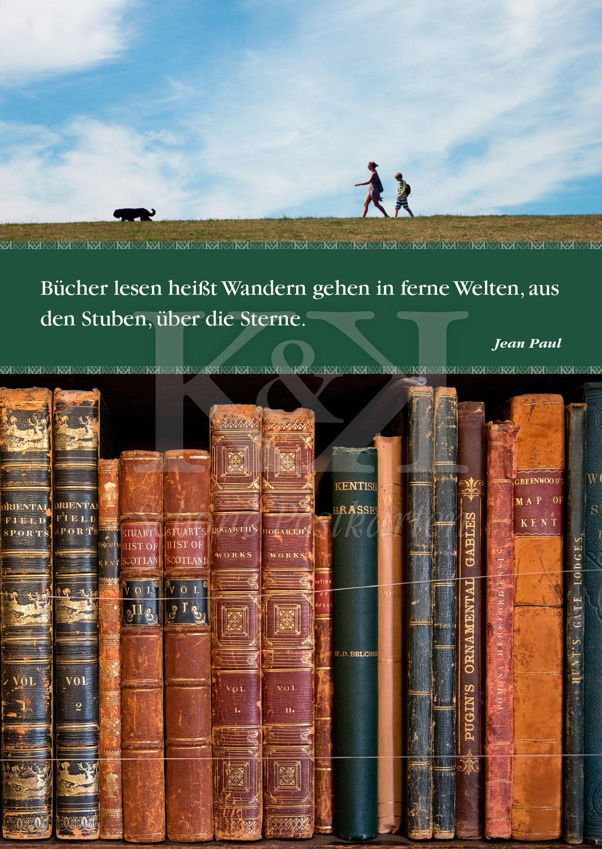 Schöne Postkarte Nr. 143 · Bücher lesen, Wandern gehen. Jean Paul © 2018
