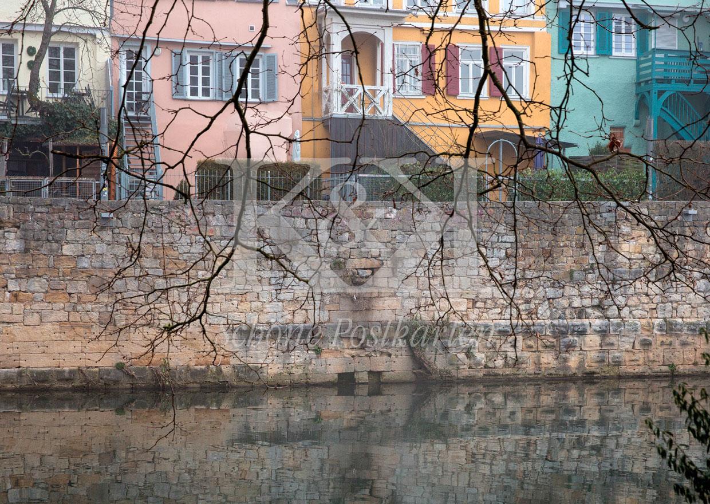 Schöne Postkarte Nr. 228 · Tübingen: kahle Äste, bunte Häuser am Neckar © 2018