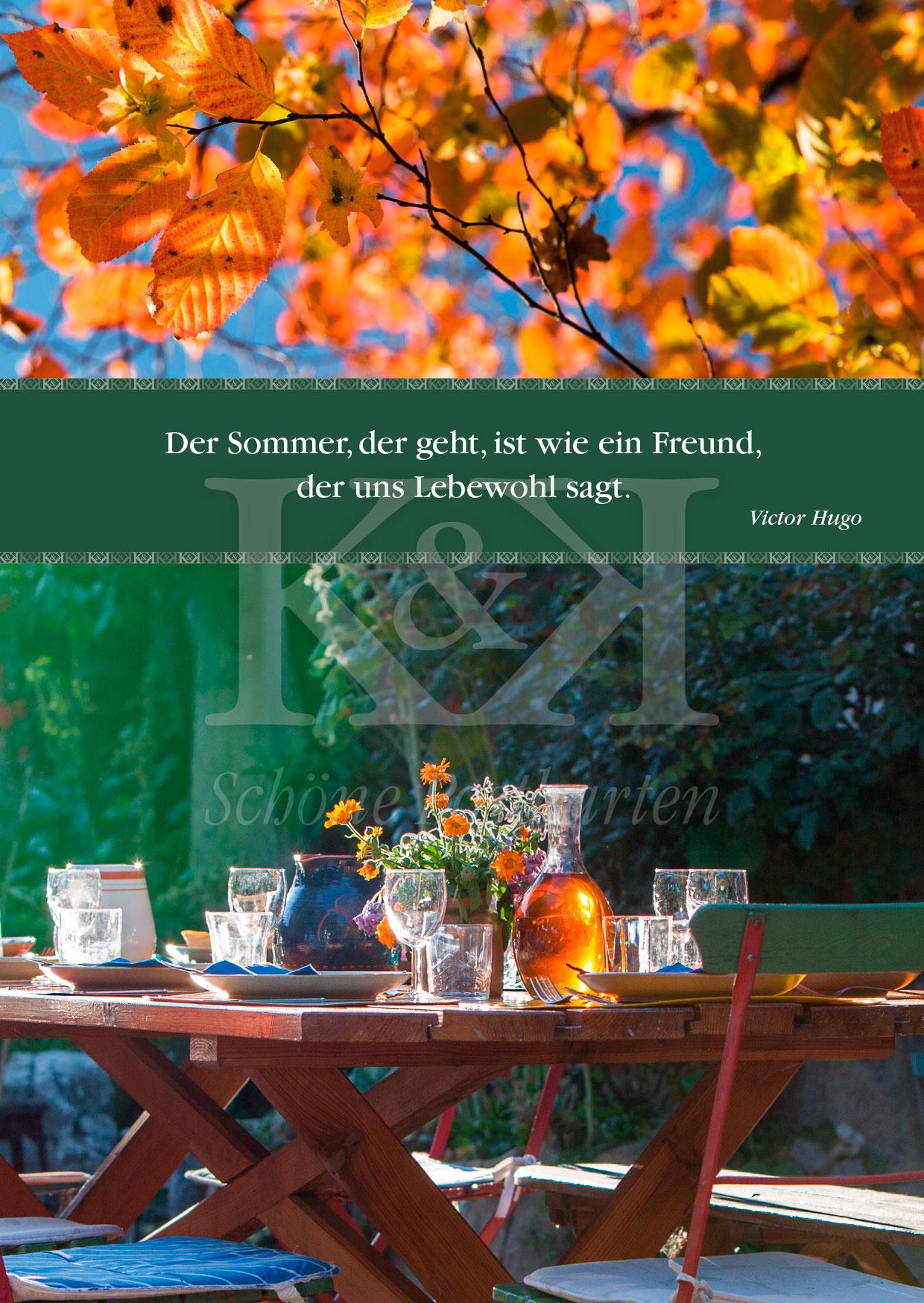 Schöne Postkarte Nr. 4 · Der Sommer, der geht. Victor Hugo © 2018