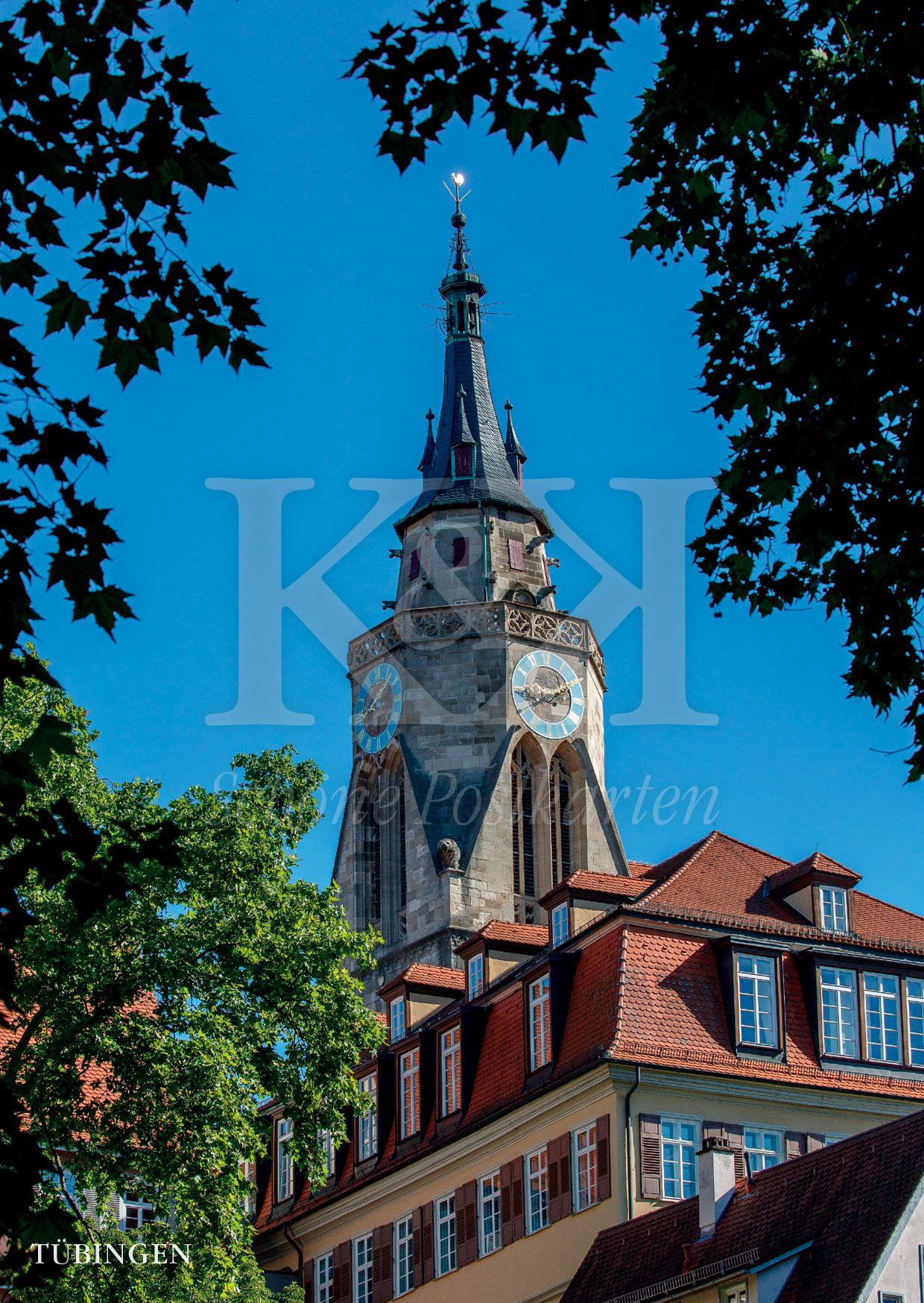 >>> NEU: Schöne Postkarte Nr. 116 · Stiftskirche Tübingen, davor die Alte Aula der Universität