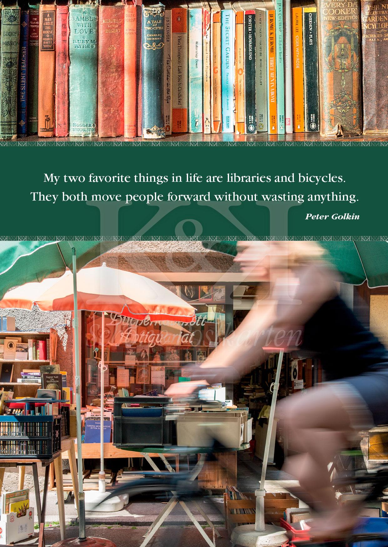 >>> NEU: Schöne Postkarte Nr. 42 · Bücher und Fahrräder – gehören in Tübingen zusammen